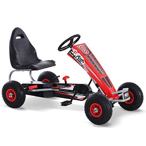 Homcom Kart à pédales Go-Kart Enfants 121L x 65l x 76H cm Ø Roues 26 cm siège Ergonomique Rouge