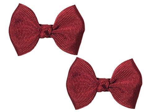 "Anna Belen Girls""Serena"" Small Grosgrain Bow O/S Burgundy (2 Pieces)"