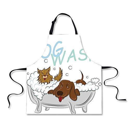 Cucina vivaio Cani giocosi in Una Vasca da Bagno Che Si governano a vicenda Simpatici Animali Domestici Illustrazione a Tema Bianco Marrone Blu per Bambini Wo
