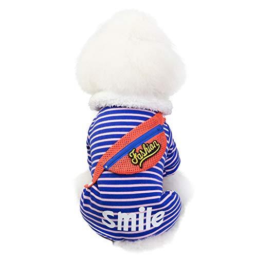 Xmiral Borsa per Il Tempo Libero per Animali Domestici Maglione a Quattro Zampe Abbigliamento per Cani Gatto Autunno e Inverno Caldo (L,Blu)