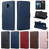 Careynoce Hülle für Samsung Galaxy J6+ Plus,Einfarbig Kalbsleder PU Leder Brieftasche Flip Cover - mit Magnetisch Ständer Kartenfach Schutzhülle HandyHüllen für Samsung Galaxy J6+ Plus - Blau