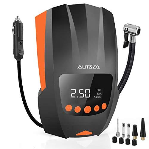 AUTSCA Auto Tire Inflator Portable Air Compressor for Car Tires, DC 12V Tire Pumps for Automobiles Bike Ball, Inflatables, Car Air Pump with LED Light
