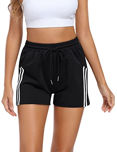 KOJOOIN Kurze Hose Damen Shorts Sommer Kurze Sporthose Baumwolle Jogginghose Loose Fit Sweathose mit Taschen und Streifen,für Jogging Yoga Fitness Freizeithose B-Schwarz L