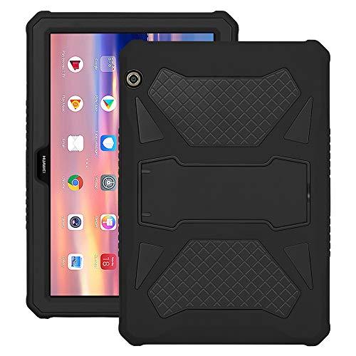 Eastcoo Schutzhülle für Huawei MediaPad T5 10, 3-Schicht weiches TPU, robuster & harter PC-Ständer Ständer Stoßfester Beweis Hybrid Heavy Duty Silikonhülle für Kinder (Schwarz)