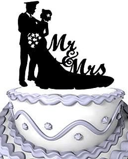 Meijiafei Bride and Police Groom Silhouette Script Mr&Mrs Wedding Cake Toppers