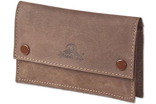 Woodland® Hochwertige Tabaktasche für 30gr. Packungen Zigarettentabak aus weichem, naturbelassenem Büffelleder in Dunkelbraun/Taupe