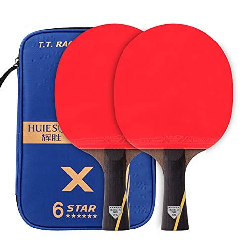 HEEYEE 2 unids Nuevo Conjunto de Tenis de Mesa de Carbono Mejorado Set Super Pothed Ping Pong Racket Bat para el Entrenamiento de un Club de Adultos,2 Horizontal Shots