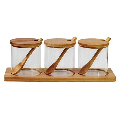 CROWNXZQ 3 frascos de condimentos con Tapas y cucharas, Juego de recipientes de Vidrio para condimentos, Bandeja, Sal, azúcar, Especias, Pimienta, Botes, ollas, Tapa de Madera de bambú
