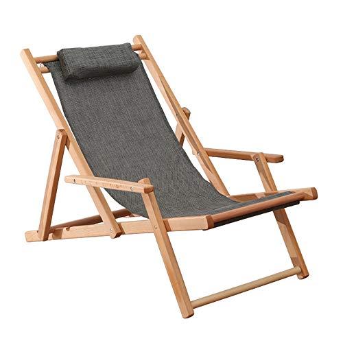 ZHongWei-- Einfarbig einfache massivholz klappstuhl Hause klappstuhl einzigen lehnstuhl tragbaren außenstuhl strandkorb Alter Mann mit kühlen Stuhl sonnenstuhl mit armlehnen, 3 Farben (Color : Gray)
