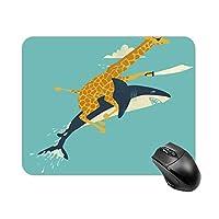 サメとキリンマウスパッド ゲーミング オフィス最適 高級感 おしゃれ耐久性が良 付着力が強い20x25x0.3cm