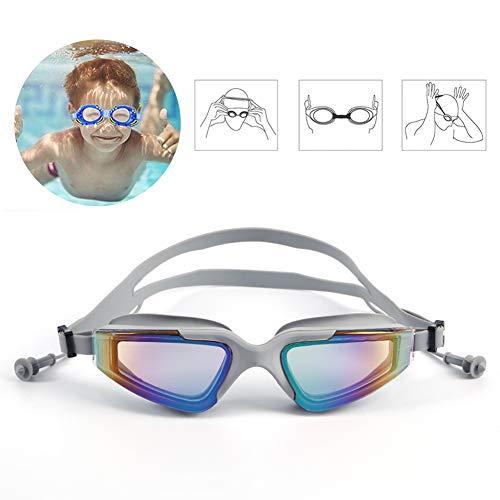 DASGF zwembril voor kinderen meisjes jongens, kinderen algemene professionele training bril, geen lekkende lenzen, UV-bescherming, anti-mist zwembril voor kinderen leeftijd 3-14, bevat oordopjes