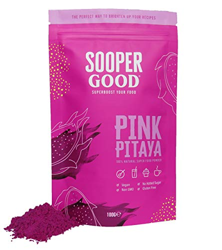 Pitaya Powder by Soopergood - 100g - Pink Dragon Fruit Powder - 100% Natural - Vegan - Ideal for Adding a Vibrant Pink Colour to Smoothies, Baking, Lattes and Many More