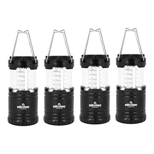 Milestone Camping Lanternes LED Ultra Lumineuses étanche Camping Festival extérieur Poignée de Traction, Noir, 4-Pack