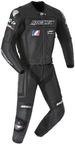Joe Rocket Speedmaster 5.0 Men's Leather 2-Piece Motorcycle Race Suit (Black/Black, Size 40)