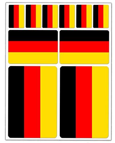 Vinylsticker, autostickers, vlag, Duitsland, auto, motorfiets, fiets, scooter, raam D 21, 10 stuks