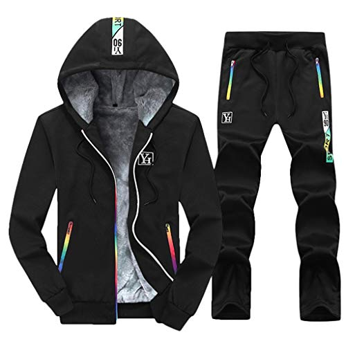 Dasongff heren sweatjack hoodie broek sets capuchon capuchon sportpak jasje basic verdikt sweatshirt mannen fitness trainingspak winter joggingpak outwear Large zwart