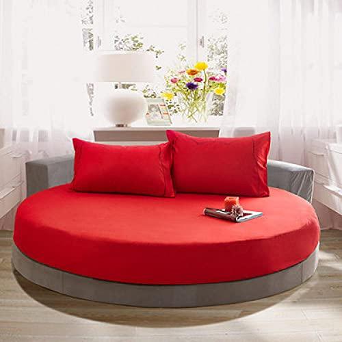 DSman Protector de colchón Acolchado - Microfibra - Funda para colchon estira hasta Funda de Cama Redonda de algodón de Color Liso-Red_Red_1.8m
