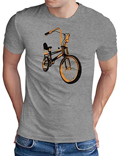 OM3® Bonanza Fahrrad T-Shirt   Herren   Retro Vintage Rad Bonanzarad II   Grau Meliert, XXL