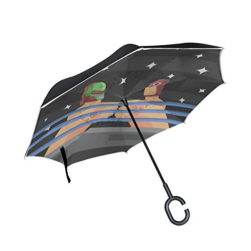 Pig One Daumen Wrestling Puppet Reverse Regenschirm Inverted Regenschirm Winddicht Regenschirme UV Schutz für Auto Regen Outdoor mit C-förmigem Griff