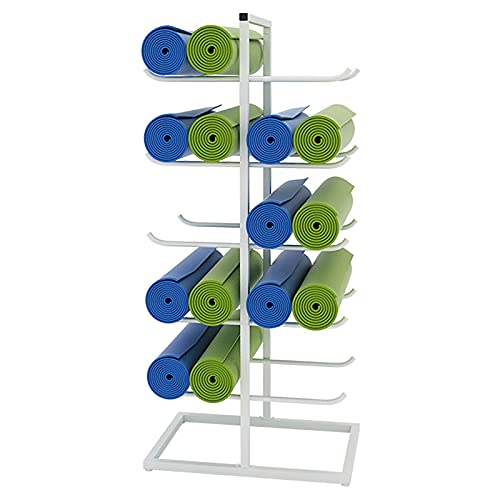Estante de La Estera de La Yoga Rejilla para Esterillas de Yoga de 5 Niveles de Altura Con Esterilla Antideslizante, Ahorro de Espacio Soporte de Esterilla de Yoga de Metal de Gran Capacidad, para Col