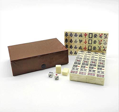 Mini-Mahjong mit PU-Box, traditionelles beigefarbenes chinesisches Mah Jong Set für Zuhause oder Reisen, Mahjong-Set, Familienspiel, Party, Freunde, Versammlungs-Spiel, Tischspiel, Brettspiel