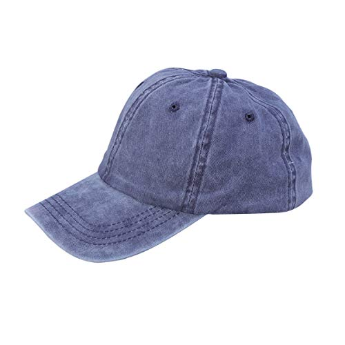 LIOOBO Mode Denim Baseballmütze Retro Baseballmütze Schirmmütze für Damen Herren (Marineblau)