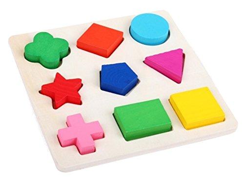 phalatina パズル 型はめ 認知 知性、想像 創造力 積み木 形合わせ 木のおもちゃ 色彩感覚 幼児 知育 玩具 正方形、長方形、ひし形 (パズル.)
