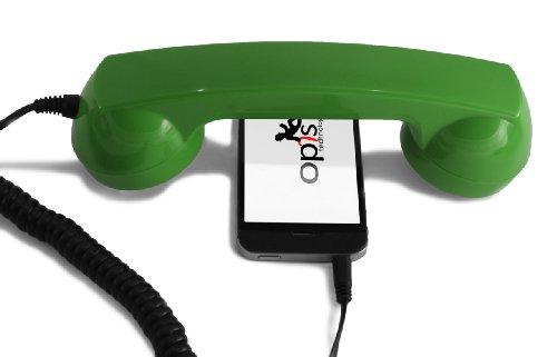 Opis 60s Micro - Retro Handyhörer für Smartphones, Tablets, Notebooks und Handys in der Form eines klassischen Telefonhörers (grün)