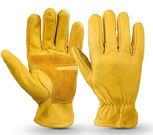 Volledige lederen suède leren handschoenen, heren en vrouwen all-finger dragen geschikt voor fietsen motorfiets outdoor sport tuinieren werkplaats handling/geel.