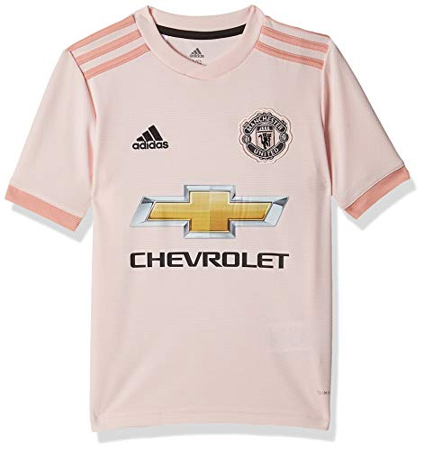 adidas Kinder Manchester United FC Away Authentic Kurzarm-Trikot, Icey Pink/Trace Pink/Black, 128