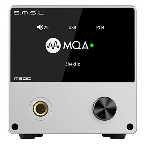 S.M.S.L M500 L'amplificatore per Cuffie DAC Supporta la decodifica MQA Chip D/A ES9038PRO USB Utilizza XMOS XU-216 con Telecomando (Silver)