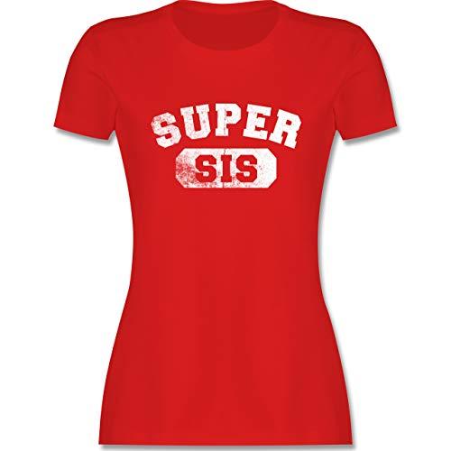 Schwester & Tante - Super Sis - Vintage-&Collegestil - M - Rot - lila Tshirt Damen - L191 - Tailliertes Tshirt für Damen und Frauen T-Shirt