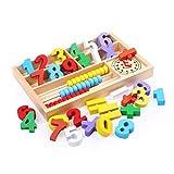 Bloques de construcción aritmética de abacos de Madera para niños Box de Aprendizaje de matemáticas Juguete (Color: Multicolor) TINGG