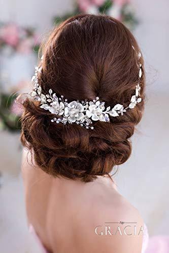Simsly - Diadema nupcial plateada de vid con flores y perlas para el cabello de la novia, accesorios para el pelo de novia, para mujeres y niñas