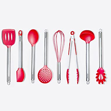 Kitchen Utensil Set - 8 Cooking Utensils - Nonstick Cooking Spatulas - Silicone and Stainless Steel Kit - For Pots and Pans - Tongs, Spatula, Ladle, Spoon, Pasta Server, Slutted turner, Whisk, (Red)