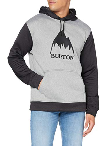 Burton Herren Oak Fleece Pullover, Gray Heather/True Black, M