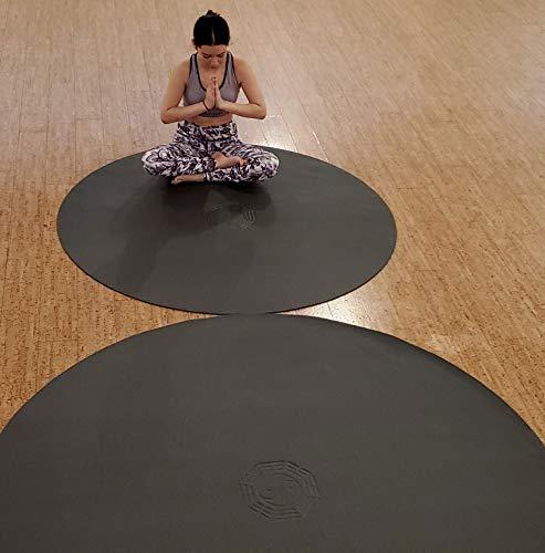 SISYAMA Circle Round TAI-CHI YIN-YANG Yoga Mat Meditation Pilates (Black, 5 ft)