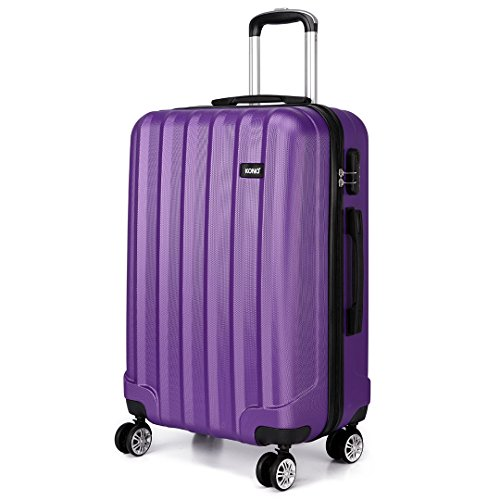 Kono Carry on 40L Luggage Hard Shell Lightweight ABS with 4 Spinner Wheels Cabin Suitcase (Purple, 20 Inch)