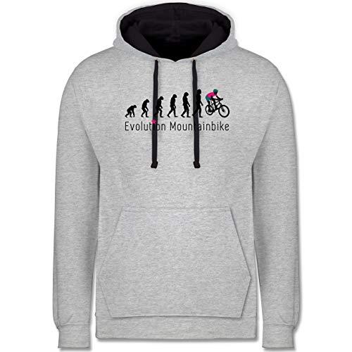 Shirtracer Evolution - Mountainbike Evolution - 4XL - Grau meliert/Navy Blau - Evolution MTB - JH003 - Hoodie zweifarbig und Kapuzenpullover für Herren und Damen