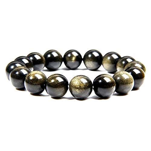 Pulsera de obsidiana de oro natural para hombre, joyería de moda, pulsera de cuentas de piedra redonda pulida de 12 Mm para mujeres, parejas, longitud 23Cm