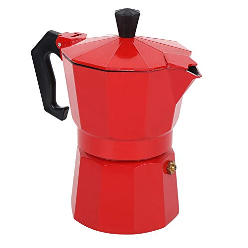 High Temperature Resistance Durable Convenient Healthy Coffee Making Tool Aluminum Alloy Safe Coffee Pot Hold Coffee for Home Office Make Coffee(red)