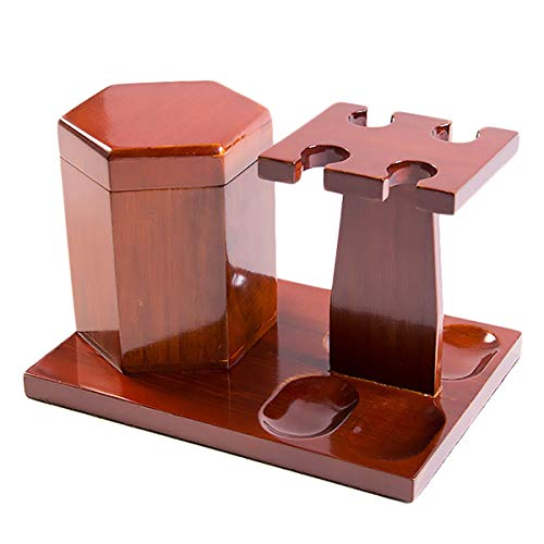 LUCKFY Tobacco Pipe Rack - 4 Pipes - with Tobacco Storage Tank,Wooden,Smooth,Hand Made