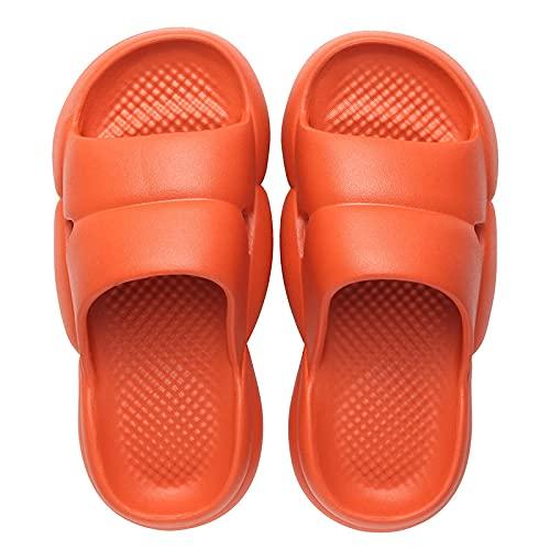 NUGKPRT chanclas,Zapatillas de verano para hombre y mujer, zapatillas de suela gruesa, cómodas zapatillas de suela blanda para el hogar, zapatillas antideslizantes para baño, 39 naranja