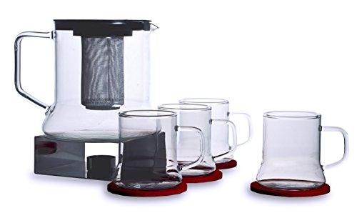 Bohemia Cristal 093 006 127 SIMAX Punschset 11 teilig, 1 Kanne ca. 1,8 ltr. aus hitzebeständigem Borosilikatglas mit Kunststoffdeckel und Metallsieb + 4 Tassen ca. 250 ml aus hitzebeständigem Borosilikatglas + 1 Metallstövchen + 4 Filzuntersetzer