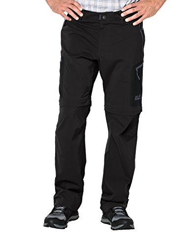 Jack Wolfskin Herren Softshell-Hose Activate Light Zip Off Men Elastisch Atmungsaktiv Wasserabweisend Outdoor Softshell-, Wanderhose, Black, 58, 1503742-6000058