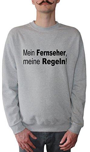 Mister Merchandise Homme Sweatshirt Mein Fernseher, Meine Regeln! TV FernsehenPull Sweat Men, Taille : L, Couleur: Gris