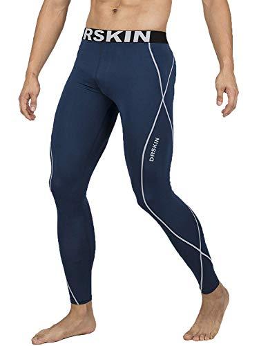 DRSKIN Compression Cool Dry Sports Tights Pants Baselayer Running Leggings Yoga Rashguard Men (4S, DN02)