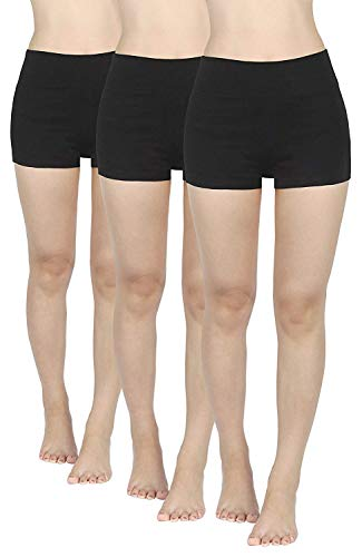 4How 3er Pack Kurze Sporthose Rdlerhose Damen kurz Sport Leggings Schwarz Sport Shorts Laufshorts Sommer Fitness Yoga Shorts Panties Hotpants M