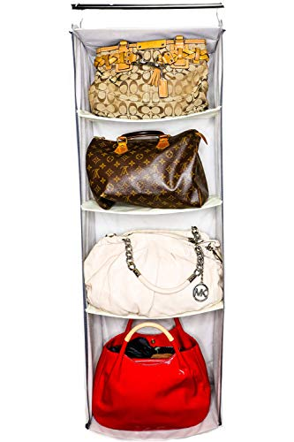 habe ULTIMATE Purse Organizer for Closet – The Only Large Medium Small Handbag Holder Organizer with Innovative 4 Shelf Bag Storage System to Protect Handbags Clutches and Wallet – 425 x 16 x 9 in