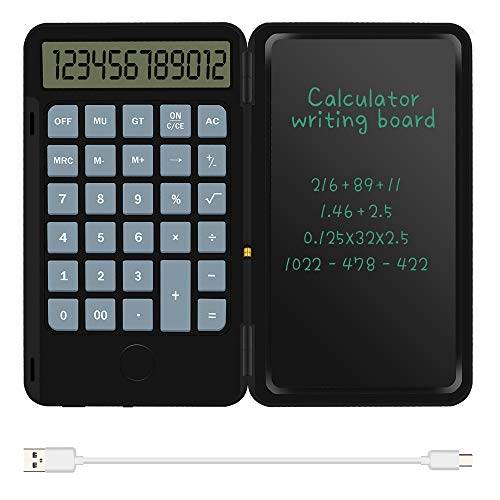 Basic Calculator Notepad with 6.5 Inch LCD Writing Tablet, Rechargeable, Lock Button and E-Pen,12 Digit Display, Also Inkless Drawing/Memo Pads/Planning Boards, Hand-held for Daily and Basic Office